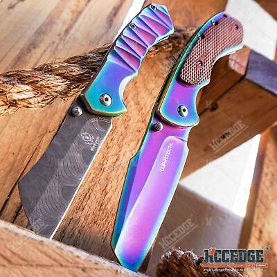 """Little Cleaver Combo 2 PC Rainbow Assisted Open CAMPING Miniature 6.5"""" Damascus"""