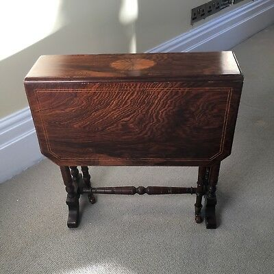 Fab Antique Edwardian Edwards & Roberts? Inlaid  Rosewood Sutherland Table c1900