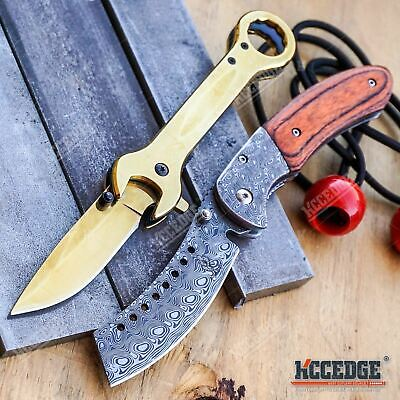 2 PC Damascus Etched SHAVER STYLE CLEAVER Blade EDC HIKING + MULTI TOOL POCKET K