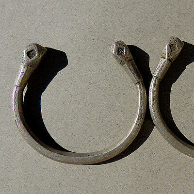 a pair of small old antique silver african bracelets tuareg niger mali #1