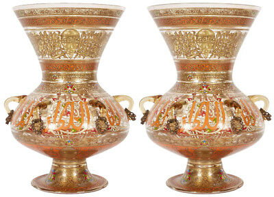 Pair French Enamelled Mamluk Revival Glass Mosque Lamps Philippe Joseph Brocard