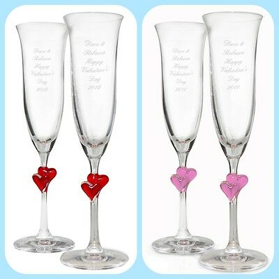 PERSONALISED CHAMPAGNE GLASSES Unique Wedding Anniversary Valentines Gift  Idea