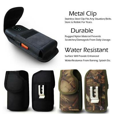 Vertical Nylon Rugged Pouch Case Belt Clip fit Phone w Otterbox Defender Case On