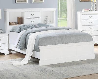 Bedroom 4pc Set White Solid Pine Wood Queen Size Bed Vintage Drawer Handles NS
