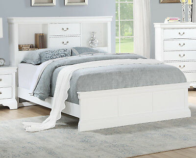 Bedroom 4pc Set White Solid Pine Wood Cal King Size Bed Vintage Drawer Handle NS
