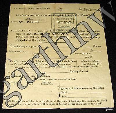 BRITISH RAILWAY 1916 WORLD WAR I MILITARY TICKET FORM 1st CASUALTY CANADIAN