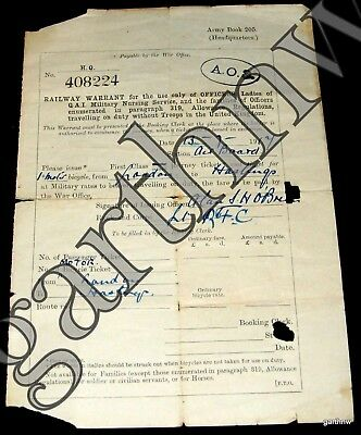 BRITISH RAILWAY 1914 WARRANT WORLD WAR I LONDON to HASTINGS MOTOR BICYCLE