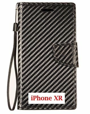 """For iPhone XR (6.1"""") - Black Carbon Fiber Card ID Wallet Pouch Holder Case Cover"""