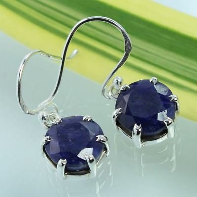 BLUE SAPPHIRE Dyed Gemstones Beautiful Girl's Earrings 925 Solid Sterling Silver