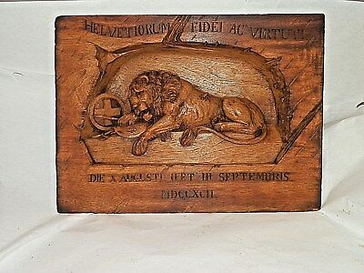 Antique Hand Carved Wood Lion Of Lucerne Wall Sculpture Finest Quality Carving