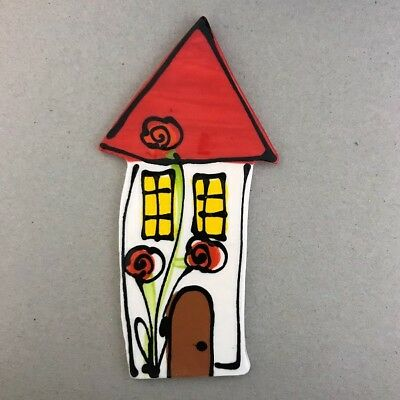 WHIMSICAL CERAMIC HOUSE - 140x70mm - White ~ Mosaic Inserts, Art, Craft Supplies