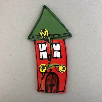 WHIMSICAL CERAMIC HOUSE - 140x70mm - Red ~ Mosaic Inserts, Art, Craft Supplies
