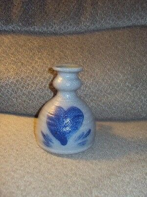 Rowe Pottery Works Unique Crock Style Candle Stick Holder! Gray Salt Glazed-Nice