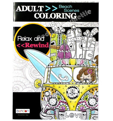 Adult Coloring Book Beach Scenes Relax And Rewind Bendon New 7 95