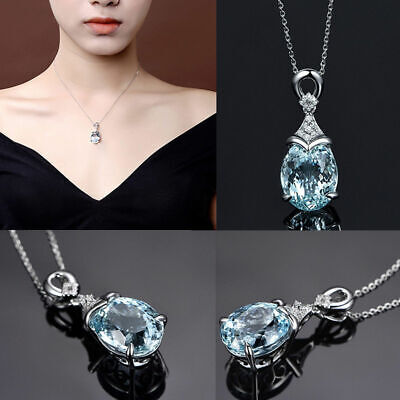 Vintage Natural Gemstone Silver Chain Aquamarine Women Jewelry Pendant Necklace