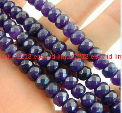 Natural 5x8mm Faceted Russican Amethyst Gemstone Rondelle Loose Bead 15''