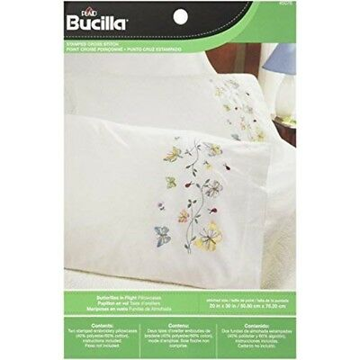 Bucilla Stamped Embroidery Pillow Case Pair, 20 By 30-inch, 45076 Butterflies -