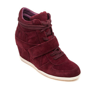 263d509a87e ASH BOWIE Burgundy Suede Leather Wedge High Top Merlot Sneakers Sz 9 NEW