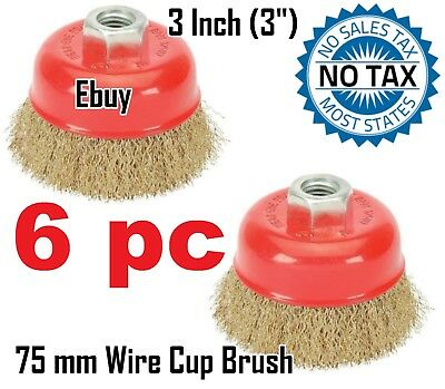 """6 Wire Cup Brush Wheel 3"""" (75mm) for 4-1/2"""" (115mm) Angle Grinder FINE Crimped"""