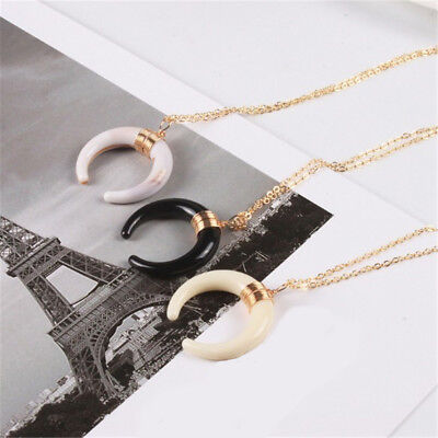 Unisex Moon Ox Horn Crescent Charm Chain Choker Necklace Pendant Gifts Fashion