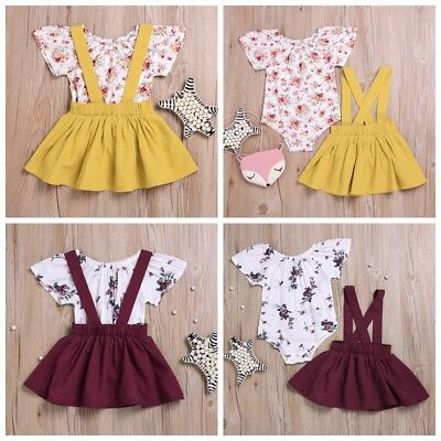 Baby Kids Girls Cute Sweet Floral Strap Suspender Pleated Skirt Two-piece Suit