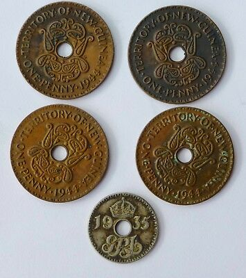 PAPUA NEW GUINEA PENNIES 1944 x4  and 1935 6 PENCE
