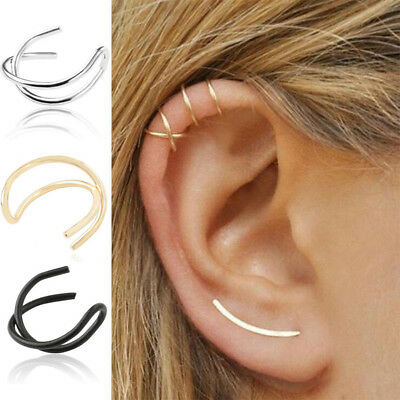 1X Cross Leaf Ear Clip Cuff Wrap Fake Earring Stud Hoop Non Piercing Cartilage