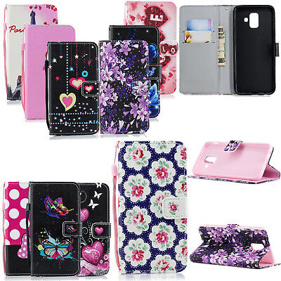 Luxury Leather Pattern Wallet Flip Stand Cover Case For Samsung Galaxy A6 2018