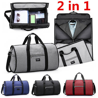 2 in 1 Business Travel Garment Bag Carry On Suit Outdoor Luggage Duffel Large