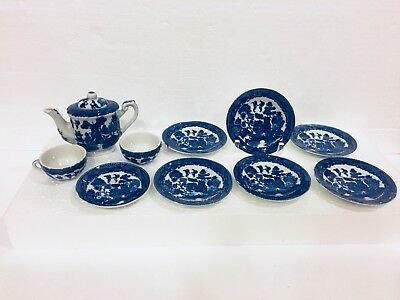 11pc VTG Blue Willow Child's Tea Set Teapot & Lid 7 Plates 2 Cups Made In Japan