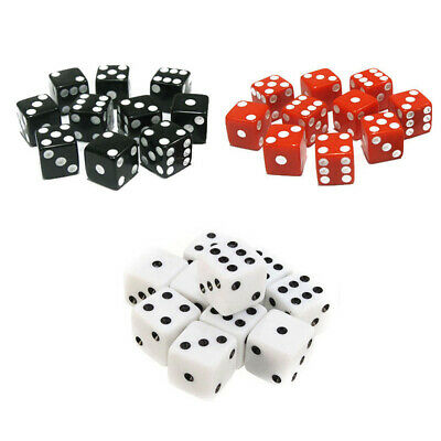Set of 10 D6 Six Sided Square Opaque 16mm D6 Dice with White Pip Die For Games