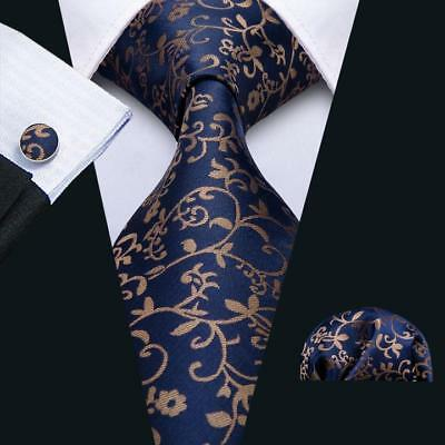 Men's Floral Ties Navy Blue Hanky Cufflinks Jacquard Woven Silk Necktie Set New