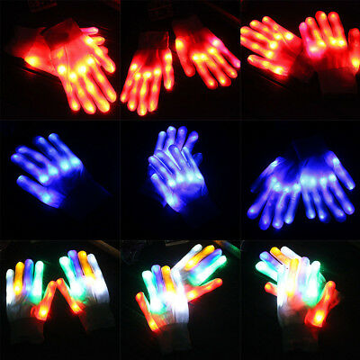 2pcs Kids Adult LED Rave Flashing Gloves Light Up Finger Tip Lighting Pair White