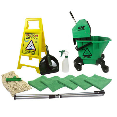 20 Litre TC Mop Bucket on Wheels Floor Cleaning Starter Kit Mop Handle SYR GREEN