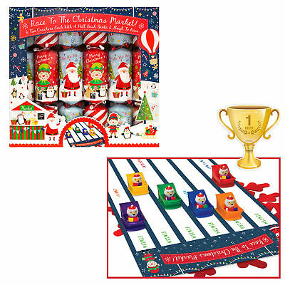 6 Pack Novelty Game Christmas Crackers - Pull Back Sleigh Racing