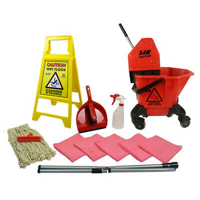 20 Litre TC Mop Bucket on Wheels Floor Cleaning Starter Kit Mop Handle SYR RED