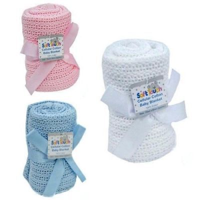 New Soft Touch Baby Girl Boy Snugly 100% Cotton Cellular Pram Cot Crib Blanket