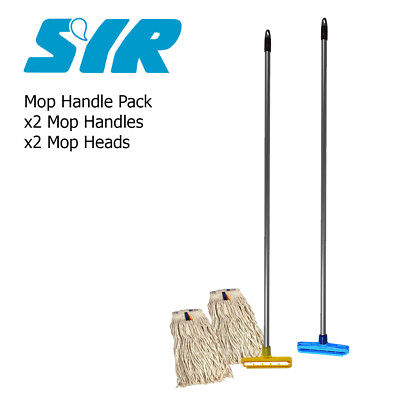 x2 SYR Kentucky Professional Steel Mop Handles With x2 Heads