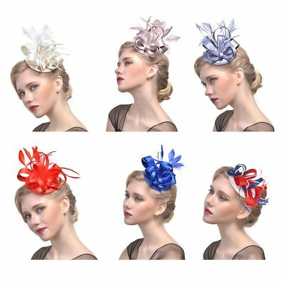 Women's Feather Fascinator Hair Clip Flower Derby Hat Party Wedding Headwear