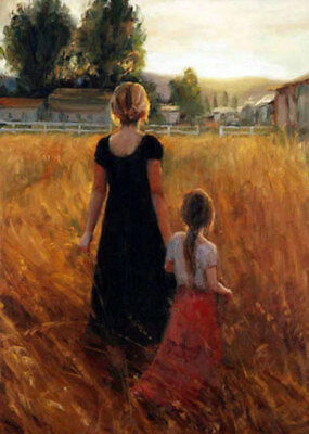CHENPAT560 portrait mother hand in hand daughter oil painting art on canvas