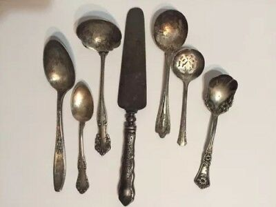 Mixed Lot 7 Piece Antique Silver Plate 6 Spoons 1 Meat Knife N S Co Rogers