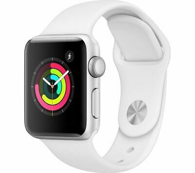 APPLE Watch Series 3 - Silver & White Sports Band, 38 mm - Currys