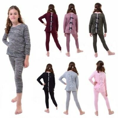 New Kids Girls Diamante Bow Back Top & Leggings Set Marl Knit Tracksuit Loungwea
