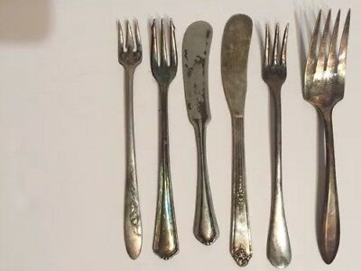 Mixed Lot 6 Piece Antique Silver Plate Knife and Forks