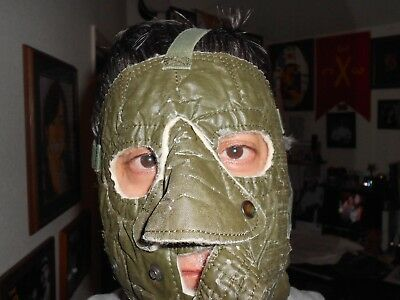 US Army cold weather face mask.  Green mask.  Cotton Liner.  Vintage Militaria