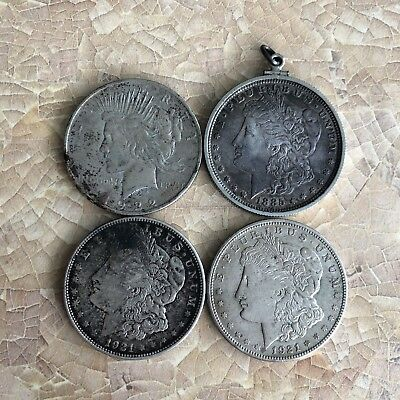 Four Liberty / Morgan Silver Dollars - 1885, 1921 (x2), 1922