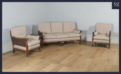 Antique Edwardian Chinoiserie 3 Three Piece Mahogany & Cane Bergere Lounge Suite