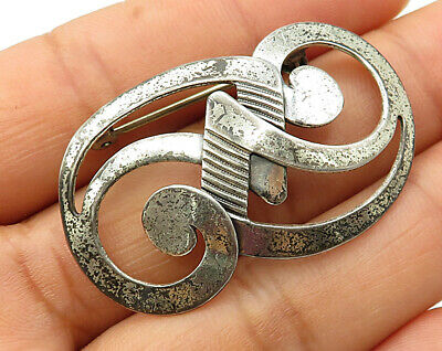 Vintage Shiny Whirlpool Swirl Brooch Pin 925 Sterling Silver Bp2480 Attractive Fashion