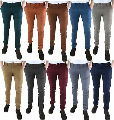 Mens Chino Regular Pants Cotton Slim Fit Stretch Casual Jeans Trousers