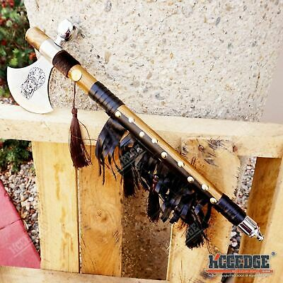 """19"""" NATIVE AMERICAN PEACE PIPE TOMAHAWK HATCHET Replica with Functional Pipe"""